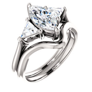 CZ Wedding Set, featuring The Prisma engagement ring (Classic Three-Stone Triangle Accent and Marquise Cut center)