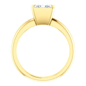 Cubic Zirconia Engagement Ring- The Stacie (Customizable Bezel-set Princess Cut Solitaire with Grooved Band)