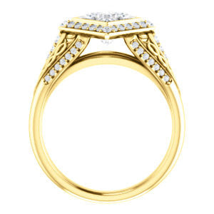Cubic Zirconia Engagement Ring- The Tisha (Customizable Bezel-Halo Princess Cut Design with Wide Filigree & Accent Band)