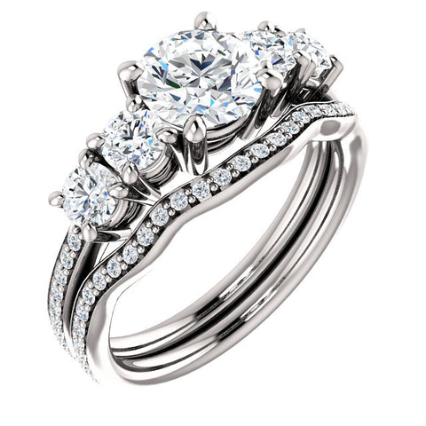 *Clearance* CZ Wedding Set- The Denae (1.0 Carat Round Cut 5-Stone in 10K White Gold)