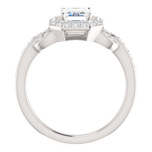Cubic Zirconia Engagement Ring- The Karli Grace (Customizable Emerald Cut Design with Halo and Interlocking Links Accented Split Band)