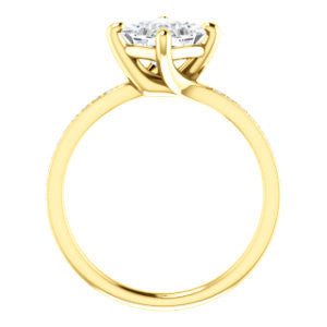 Cubic Zirconia Engagement Ring- The Valeria (Customizable Kite-setting Princess Cut Center featuring Thin Pavé Band)