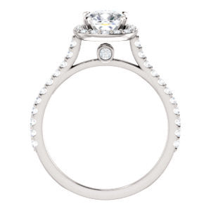 Cubic Zirconia Engagement Ring- The Bailey (Customizable Cathedral-set Cushion Cut Design with Halo, Thin Pavé Band and Floating Peekaboo)