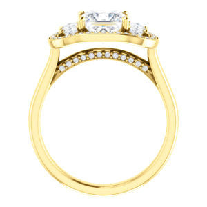 Cubic Zirconia Engagement Ring- The Nettie (Customizable Enhanced 3-stone Halo-Surrounded Design with Princess Cut Center, Dual Oval Cut Accents, and Decorative Pavé-Accented Trellis)