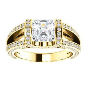 Cubic Zirconia Engagement Ring- The Scarlett (Asscher Cut with Prong-Accented Bar Basket and Split Pavé Band)