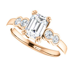 Cubic Zirconia Engagement Ring- The Yucsin (Customizable Radiant Cut Five-stone Design with Round Bezel Accents)