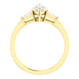Cubic Zirconia Engagement Ring- The Bhakti (Customizable Enhanced 5-stone Marquise Cut Design with Thin Pavé Band)