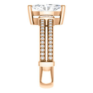 Cubic Zirconia Engagement Ring- The Kaitlyn (Customizable Marquise Cut with Flanking Baguettes And Round Channel Accents)