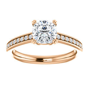 Cubic Zirconia Engagement Ring- The Myrtle (Customizable Cushion Cut Design with Round-Accented Band & Euro Shank)