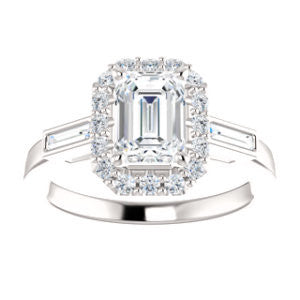 Cubic Zirconia Engagement Ring- The Azariah (Customizable Cathedral Radiant Cut Design with Halo and Straight Baguettes)