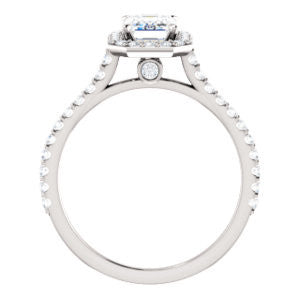 Cubic Zirconia Engagement Ring- The Bailey (Customizable Cathedral-set Radiant Cut Design with Halo, Thin Pavé Band and Floating Peekaboo)
