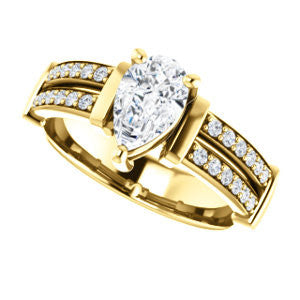 Cubic Zirconia Engagement Ring- The Rachana (Customizable Pear Cut Design with Wide Split-Pavé Band and Euro Shank)