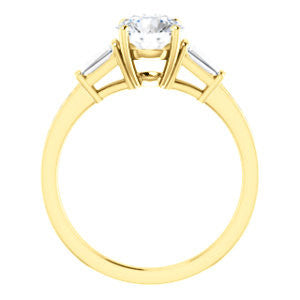 Cubic Zirconia Engagement Ring- The Bhakti (Customizable Enhanced 5-stone Round Cut Design with Thin Pavé Band)