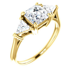 Cubic Zirconia Engagement Ring- The Prisma (Classic Three-Stone Triangle Accent and Asscher Cut center)