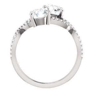 Cubic Zirconia Engagement Ring- The Harleigh (Customizable 2-stone Round Cut Artisan Style With Twisting Split-Pavé Band)