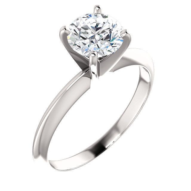 Cz Engagement Ring Round Solitaire With 4 Prongs Cubic Zirconia Cz