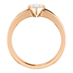 Cubic Zirconia Engagement Ring- The Bernadine (Customizable Bezel-set Marquise Cut with V-Split Band)