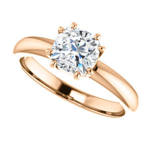 Cubic Zirconia Engagement Ring- The Ziitlaly (Customizable Cushion Cut Solitaire with High Basket)