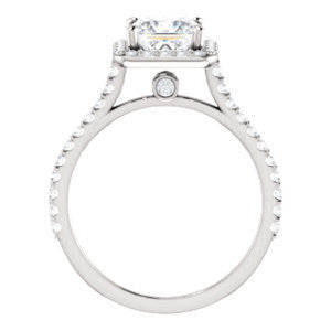Cubic Zirconia Engagement Ring- The Bailey (Customizable Cathedral-set Princess Cut Design with Halo, Thin Pavé Band and Floating Peekaboo)