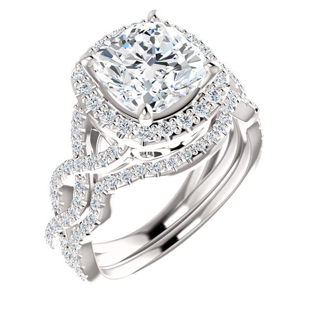 *Clearance* CZ Wedding Set- The Benita (2.50 Carat Cushion Cut with Infinity Split-band Pavé and Halo in 10K White Gold)