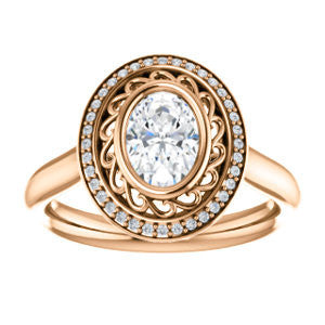 Cubic Zirconia Engagement Ring- The Bessie (Customizable Cathedral-Bezel Oval Cut Design with Flowery Filigree and Halo)