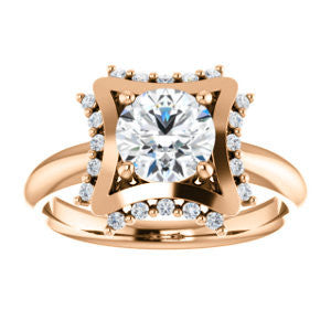 Cubic Zirconia Engagement Ring- The Jolene (Customizable Round Cut with Floral-inspired Clustered Accent Under-halo)
