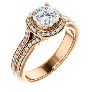 Cubic Zirconia Engagement Ring- The Mia Sofía (Customizable Cathedral-Halo Cushion Cut Style with Wide Split-Pavé Band)