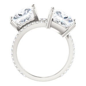 Cubic Zirconia Engagement Ring- The Anniston (Customizable 2-stone Princess Cut Design Enhanced by Artisan Split-Pavé Band)