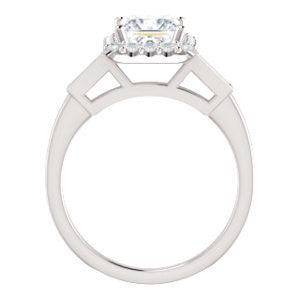 Cubic Zirconia Engagement Ring- The Azariah (Customizable Cathedral Princess Cut Design with Halo and Straight Baguettes)