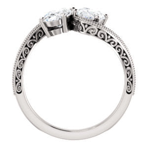 Cubic Zirconia Engagement Ring- The Aylen (Customizable Enhanced 2-stone Oval Cut Artisan Design with 3-sided Filigree and Pavé Band)