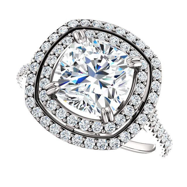 *Clearance* Cubic Zirconia Engagement Ring- The Alexandra (2.50 Carat Cushion Cut Double Halo Center with U-Pave and Pavé Band in Platinum)