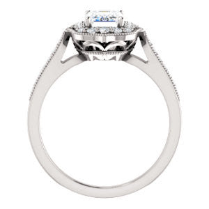 Cubic Zirconia Engagement Ring- The Faida (Customizable Cathedral-set Emerald Cut Design with Halo and Milgrained Pavé Band)