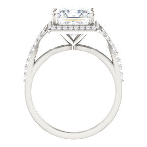 Cubic Zirconia Engagement Ring- The Mayte (Customizable Halo-Style Princess Cut Design with Split-Pavé Band)