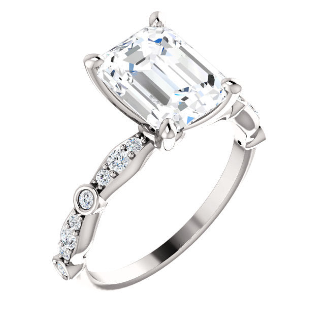 *Clearance* Cubic Zirconia Engagement Ring- The Lindsay (2.5 carat Radiant Cut Ladies' Belt-Inspired Setting with Bezel-Set Pave Band in 10K White Gold)