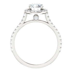 Cubic Zirconia Engagement Ring- The Bailey (Customizable Cathedral-set Round Cut Design with Halo, Thin Pavé Band and Floating Peekaboo)