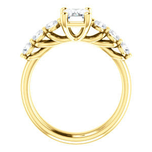 Cubic Zirconia Engagement Ring- The Adamari (Customizable 7-stone Emerald Cut Style with Round Bar-set Accents)