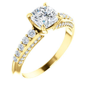 Cubic Zirconia Engagement Ring- The Rachelle (Customizable Cushion Cut with 3-Sided Round Prong Side Stones)