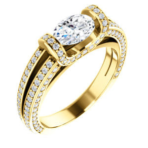 CZ Wedding Set, featuring The Scarlett engagement ring (Oval Cut with Prong-Accented Bar Basket and Split Pavé Band)