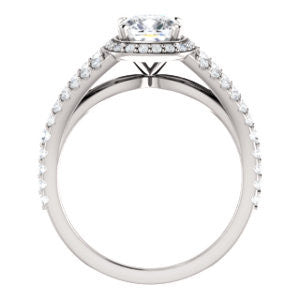 Cubic Zirconia Engagement Ring- The Azul (Customizable Cushion Cut Style with Cathedral-Halo and Split-Pavé Band)