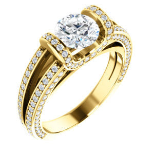 CZ Wedding Set, featuring The Scarlett engagement ring (Round Cut with Prong-Accented Bar Basket and Split Pavé Band)