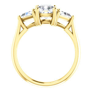 Cubic Zirconia Engagement Ring- The Prisma (Classic Three-Stone Triangle Accent and Cushion Cut center)