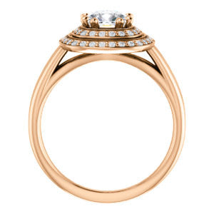 Cubic Zirconia Engagement Ring- The Brielle (Customizable Cushion Cut Cathedral Double-Halo with Curved Split-Band)