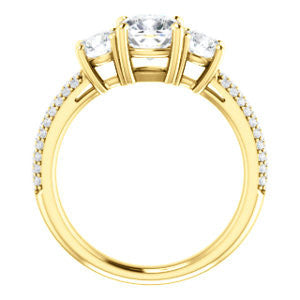 CZ Wedding Set, featuring The Zuleyma engagement ring (Customizable Enhanced 3-stone Cushion Cut Design with Triple Pavé Band)
