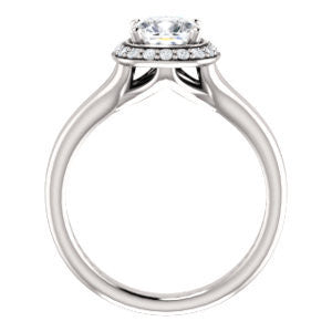 Cubic Zirconia Engagement Ring- The Bebi (Customizable Cathedral-Halo Cushion Cut Design with Wide Split Band)