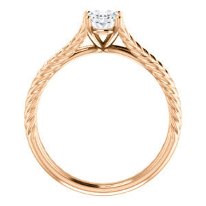 Cubic Zirconia Engagement Ring- The Manuela (Customizable Cathedral-set Oval Cut Solitaire with Rope-Engraved Split-Band)