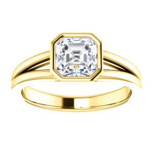Cubic Zirconia Engagement Ring- The Bernadine (Customizable Bezel-set Asscher Cut with V-Split Band)