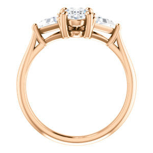 Cubic Zirconia Engagement Ring- The Prisma (Classic Three-Stone Triangle Accent and Oval Cut center)