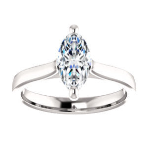 CZ Wedding Set, featuring The Noemie Jade engagement ring (Customizable Cathedral-set Marquise Cut Solitaire)