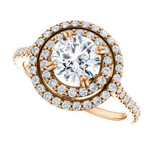 CZ Wedding Set, featuring The Alexandra engagement ring (Customizable Round Cut Double Halo Center with U-Pave and Pavé  Band)