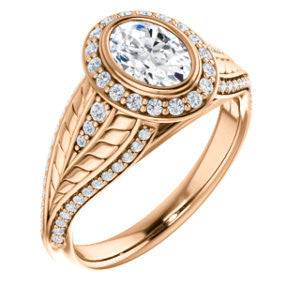 Cubic Zirconia Engagement Ring- The Mary Jane (Customizable Bezel-Halo Oval Cut Design with Wide Filigree & Accent Band)